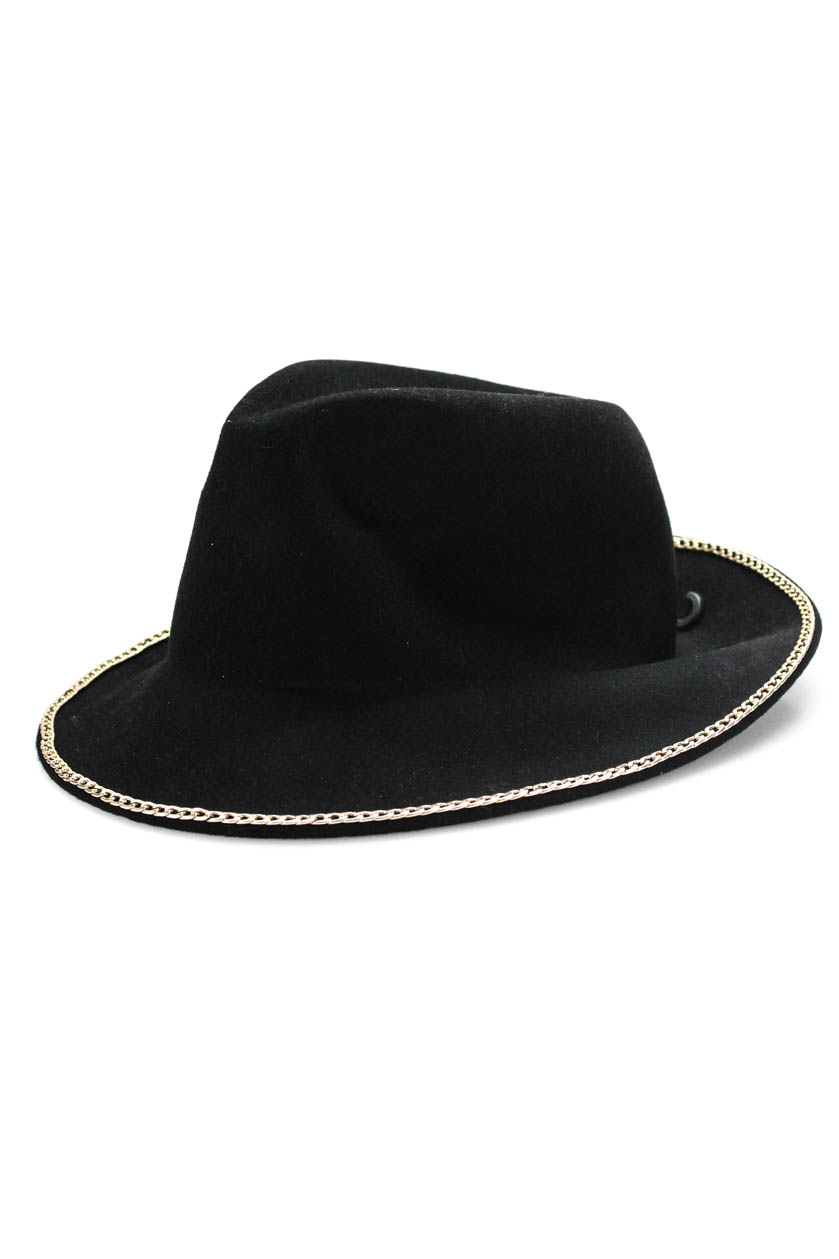 7f7897b3 Zara Accessories Womens Fedora Hat Black Felt Chain Accent Size ...