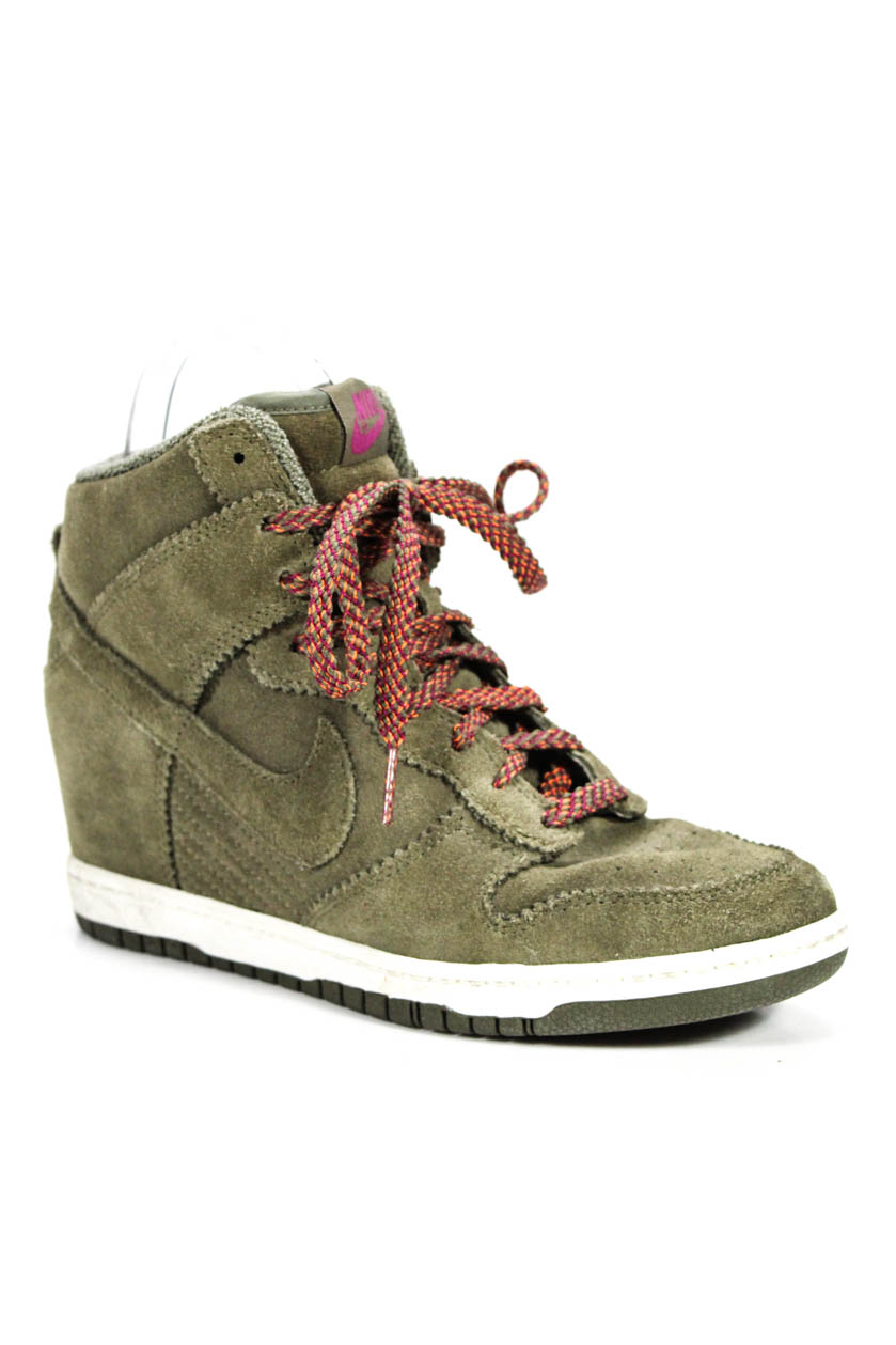 0b4cba561824 Details about Nike Womens High Top Lace Up Trainers Sneakers Green Suede  Size 8