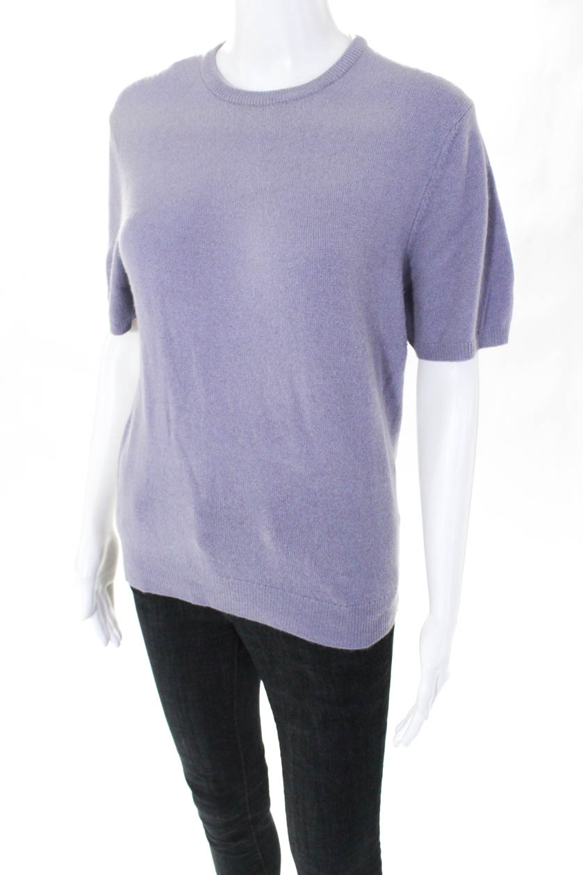 e7aa8943ed0 Details about Tse Womens Short Sleeve Crew Neck Sweater Purple Cashmere  Size Large