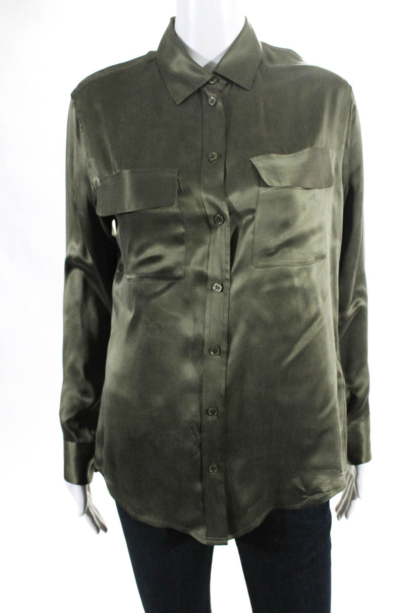 a5c5aa23 Details about Equipment Femme Womens Silk Button Down Blouse Olive Green  Size Extra Small