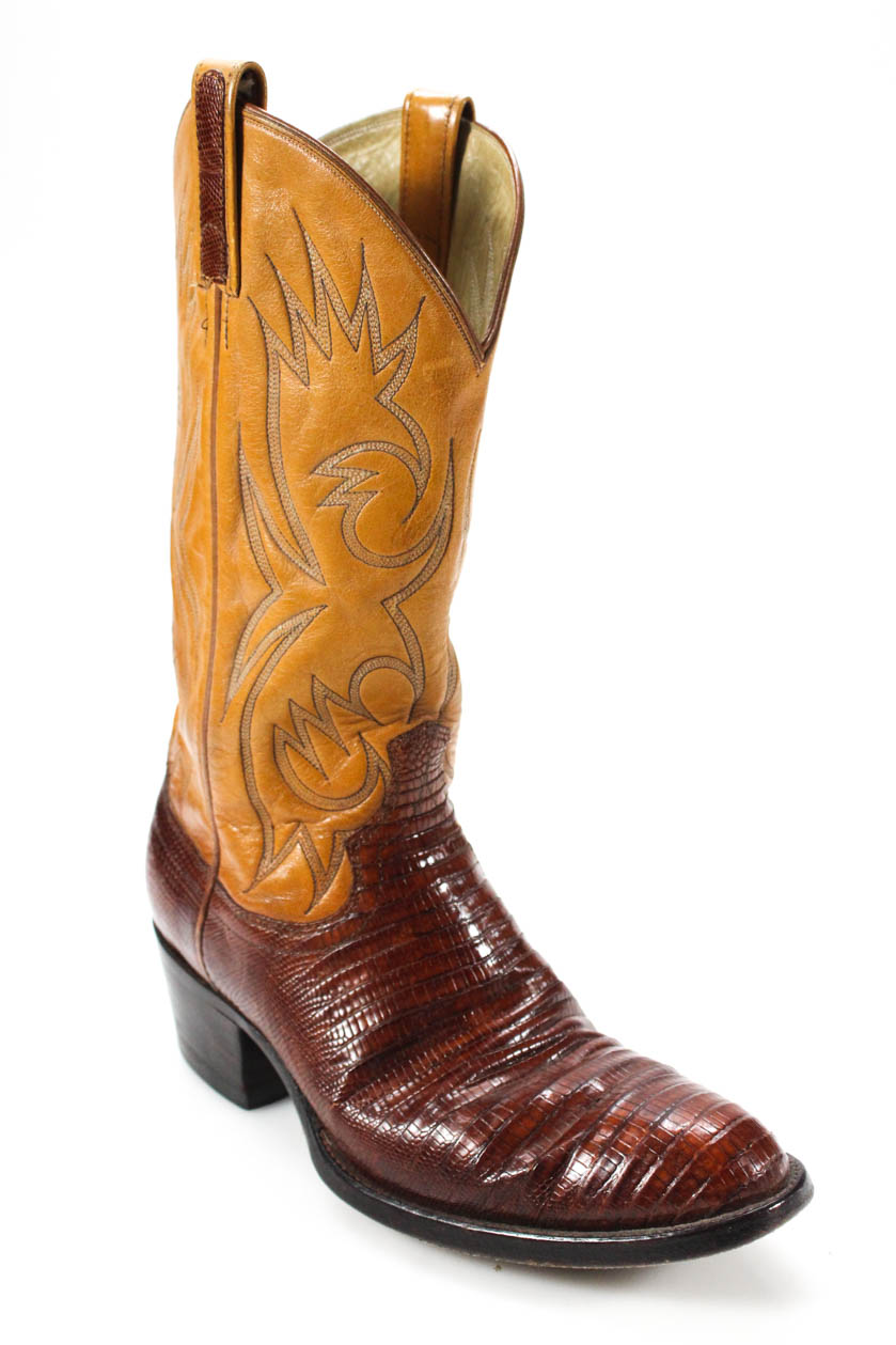 f50530c4e06 Details about Sheplers Men's Almond Toe Slip On Cowboy Boots Leather Brown  Size 7