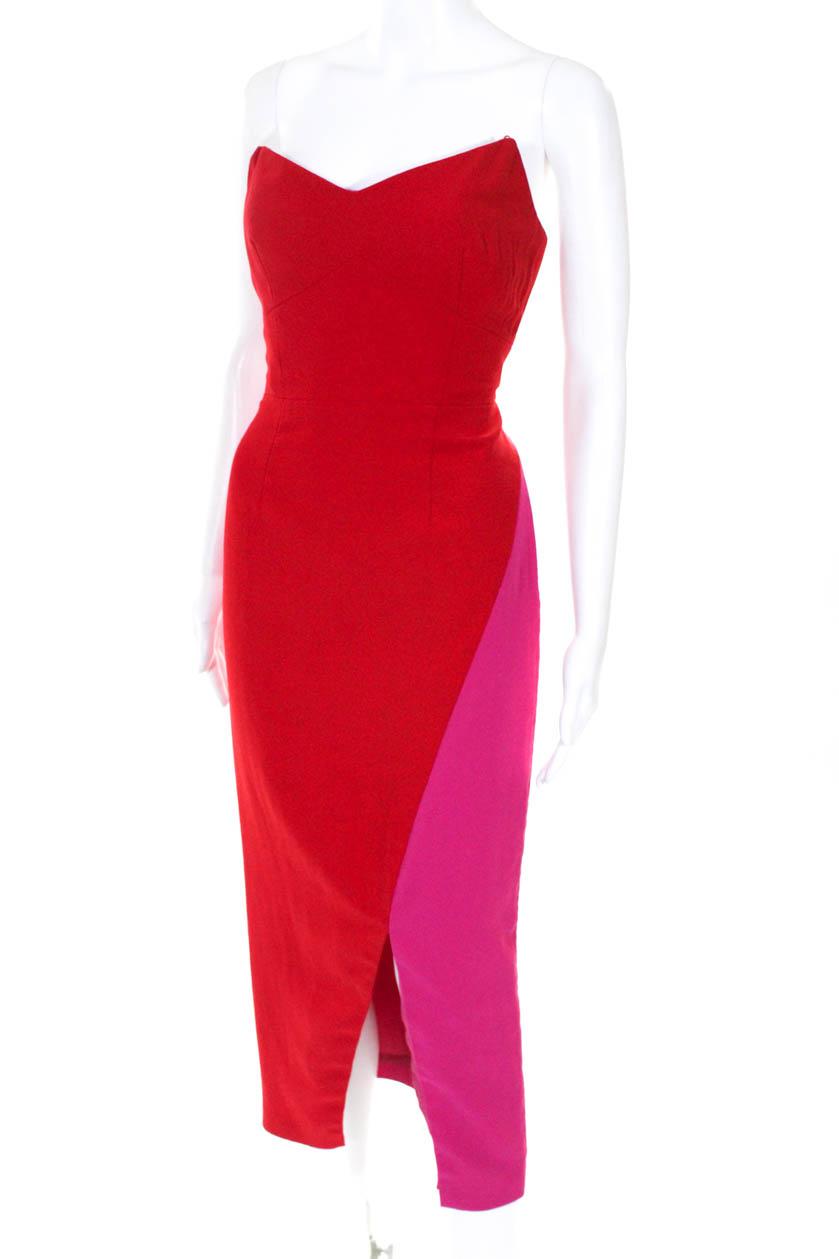 7fb56ea6 Details about Jill Jill Stuart Womens Color Block V Neck Sheath Dress Red  Pink Size 4 11012844