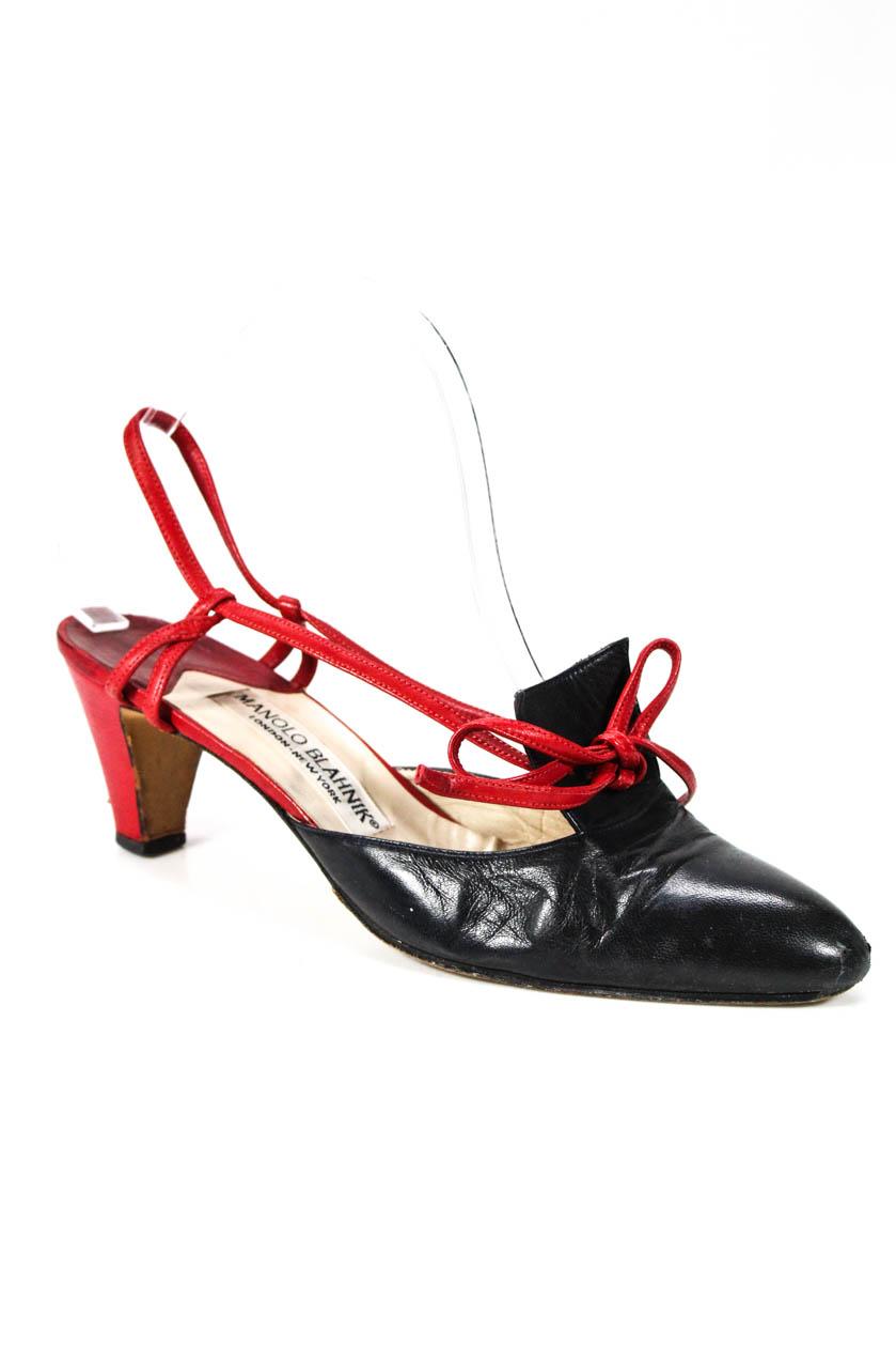 6edaf0e57dad Manolo Blahnik Womens Clogs Mules Pumps Red Black Leather Size 38.5 ...