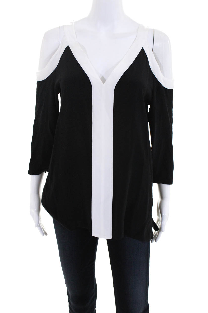 890482da52070 Bailey 44 Womens 3 4 Sleeve Cold Shoulder Top Blouse Black White Size Medium