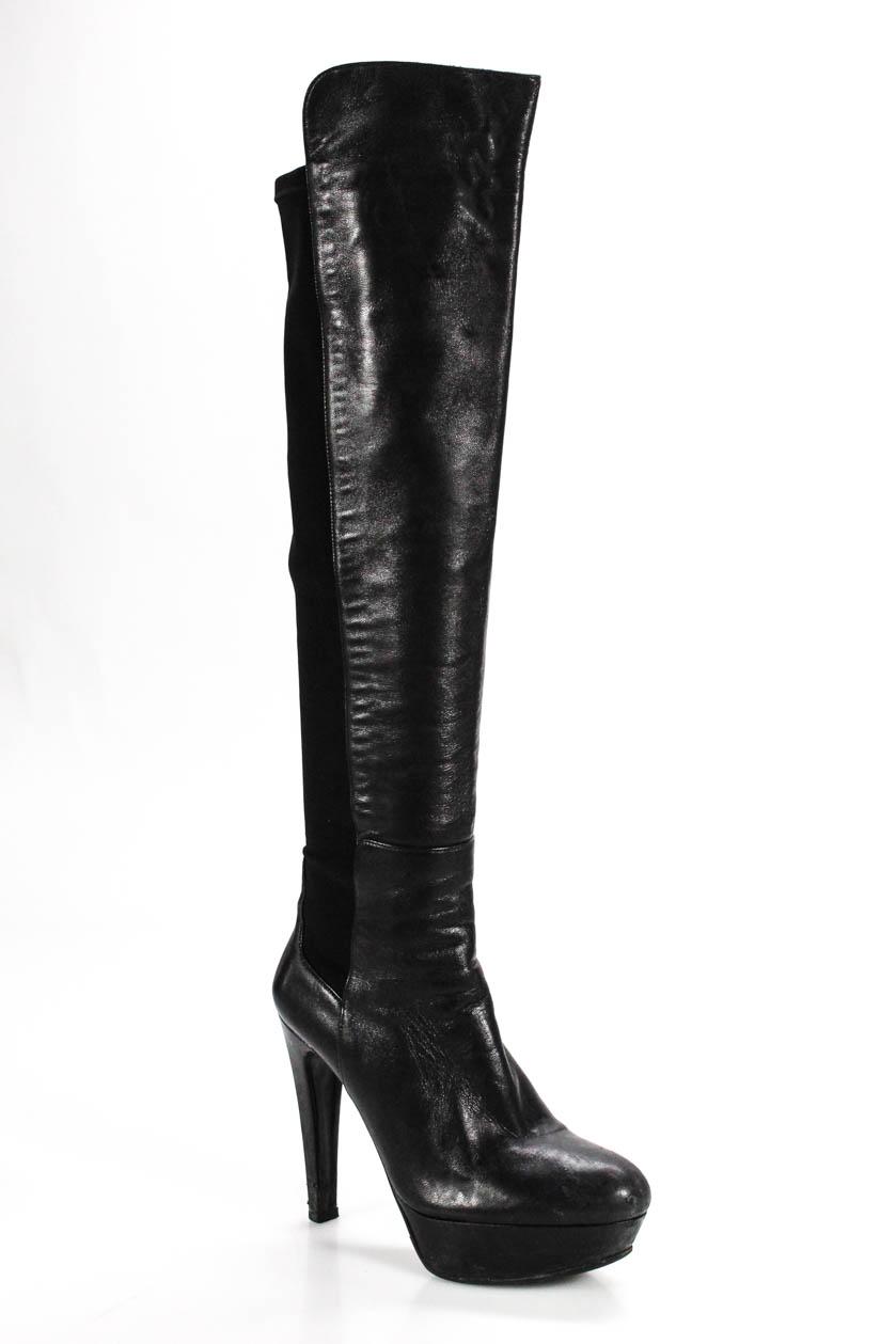 10739253134 Details about Stuart Weitzman Womens 50 50 Over Knee Platform Boots Leather  Black Size 6.5