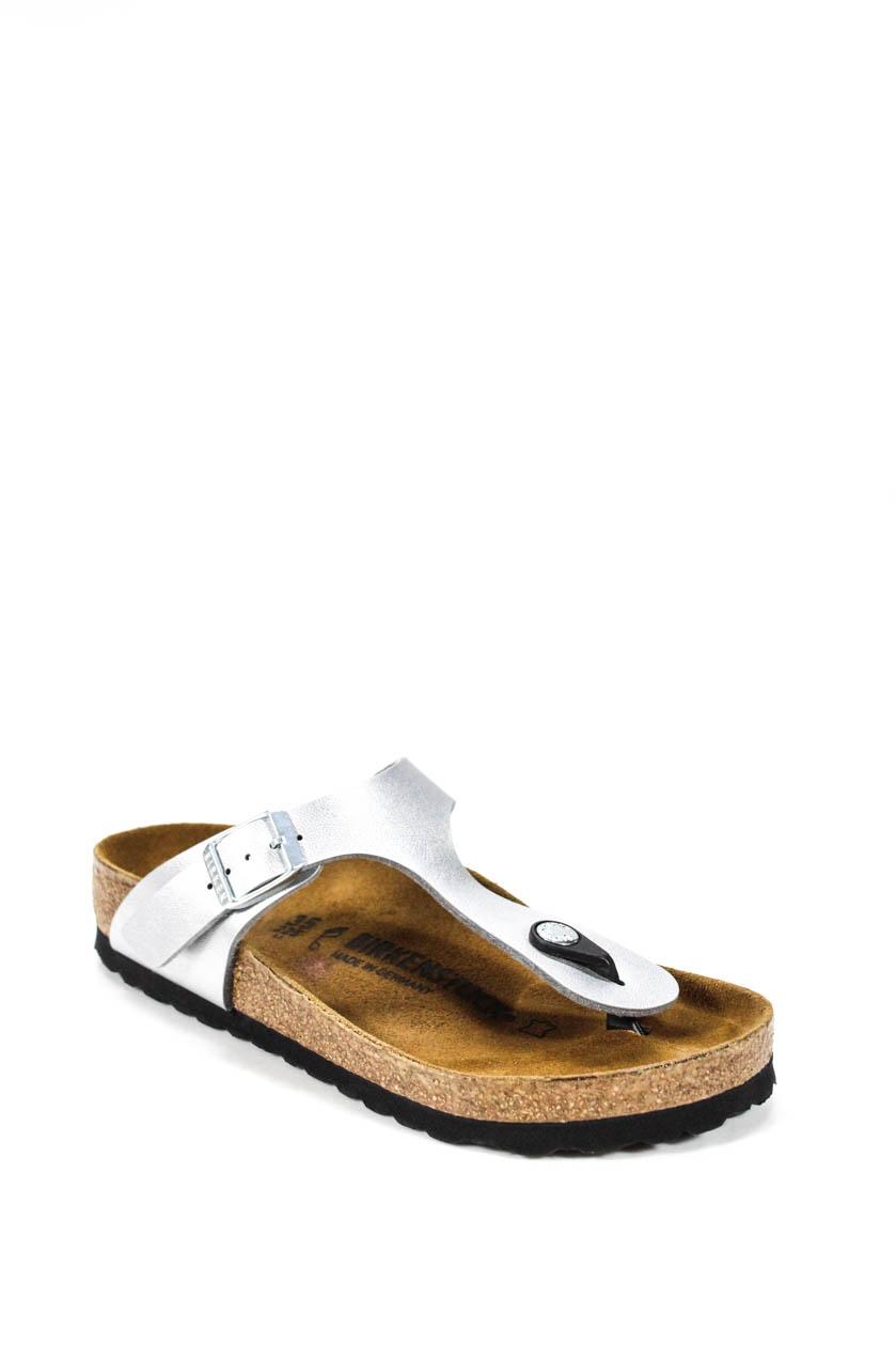 bf9a58611a Birkenstock Womens Flip Flops Sandals Silver Metallic Leather Size 35 5
