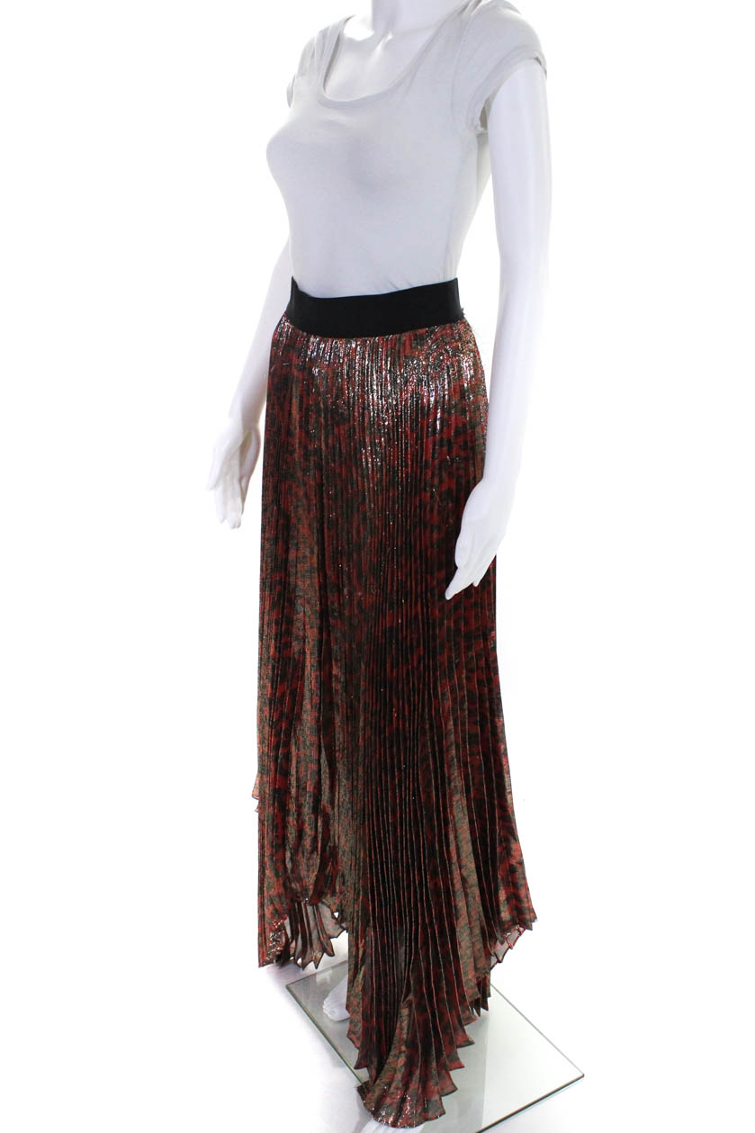 c264dc04ff30 Alice + Olivia Womens Pleated Asymmetric A-Line Maxi Skirt Red Gold ...