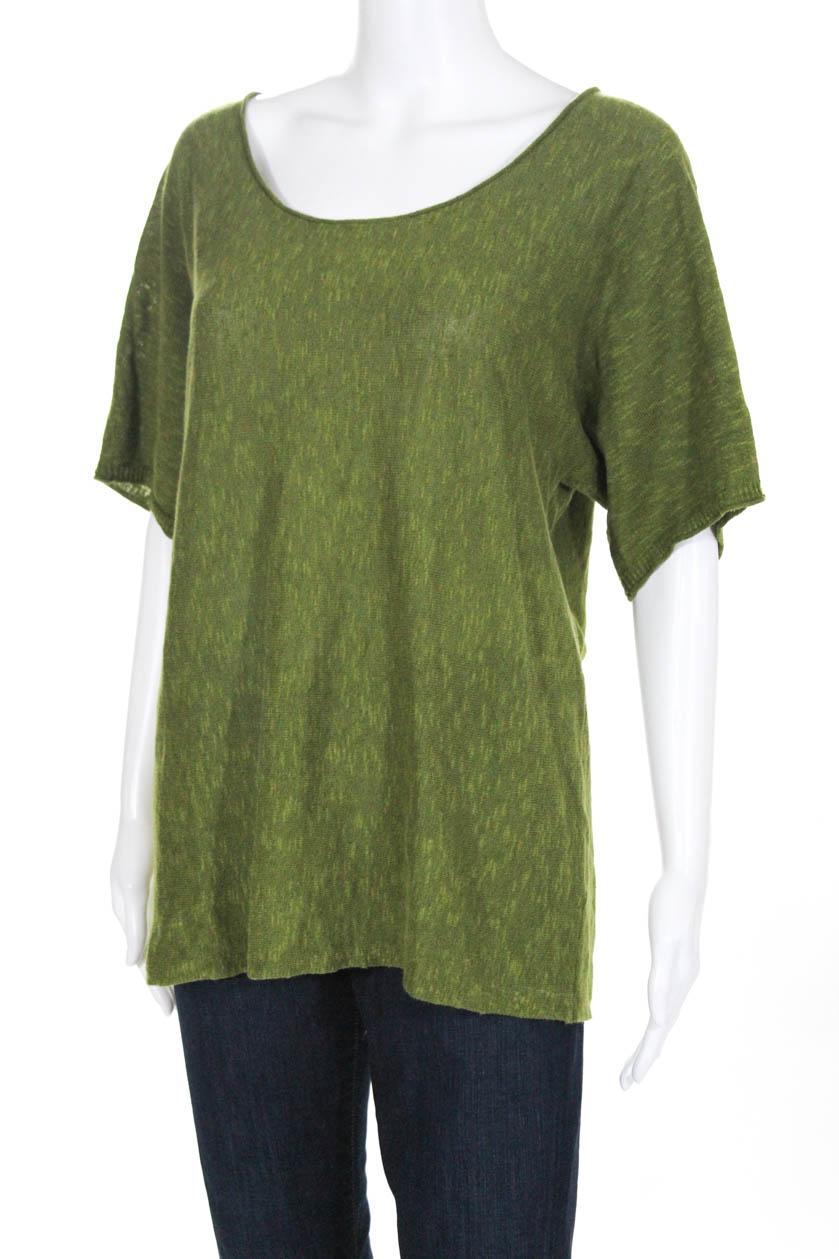 089dfc956f1 Eileen Fisher Womens Short Sleeve Scoop Neck Tee Shirt Blouse Green ...