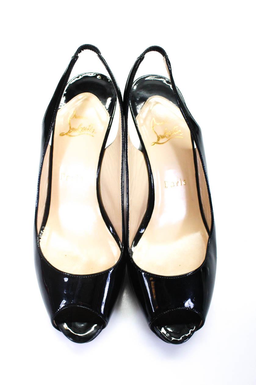 b1fe55b2459a Christian Louboutin Womens Patent Leather Peep Toe Pumps Black Size ...