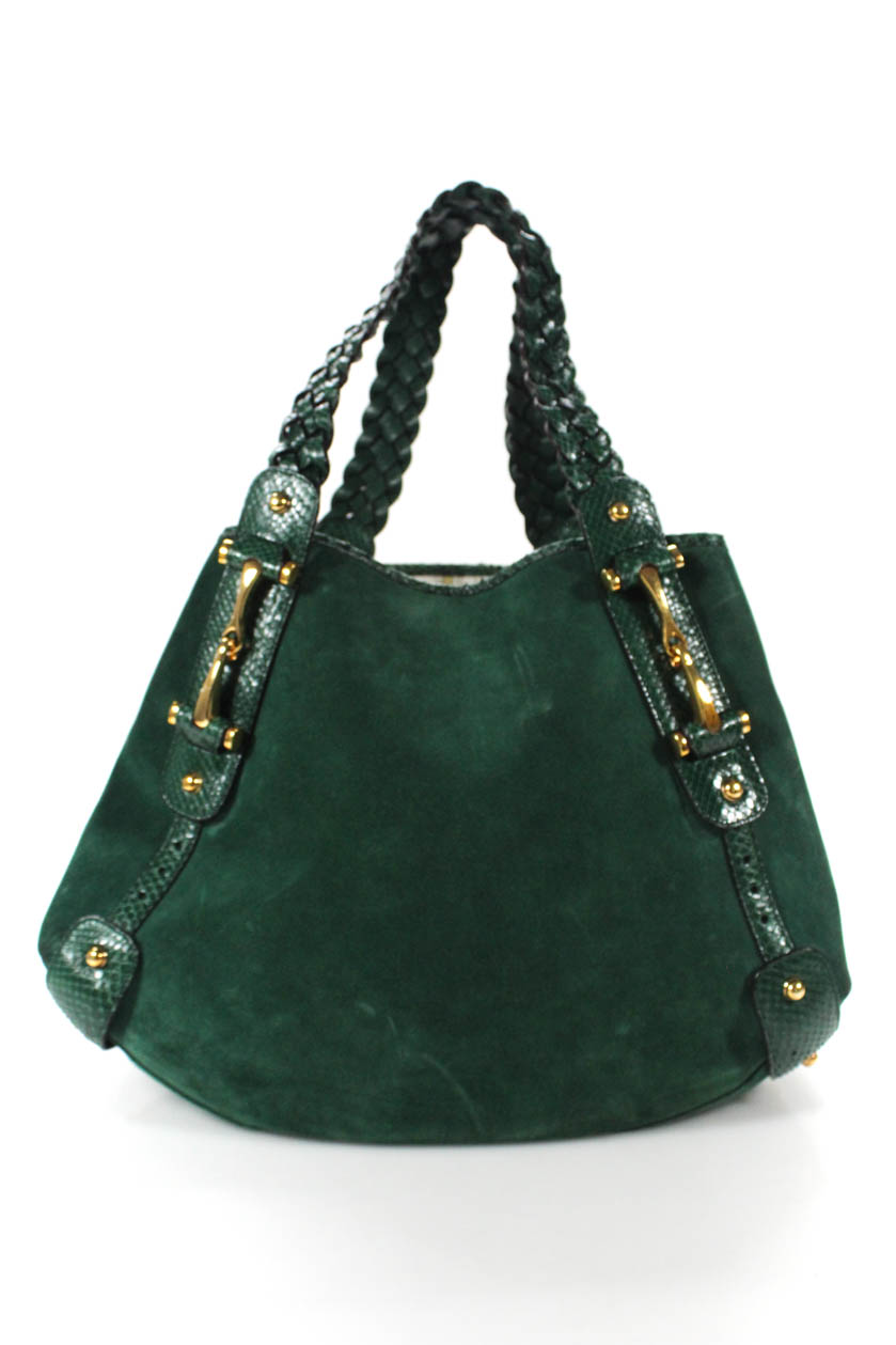 49eadcf9bd5 Details about Gucci Womens Pelham Braided Strap Tote Shoulder Handbag Green  Suede Python
