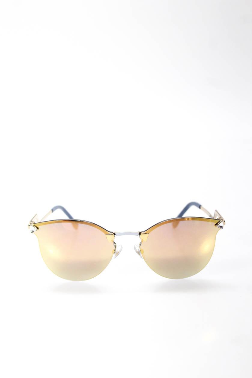 f9fc062feefa2 Details about Fendi Womens Sunglasses Gold Tone Blue White Mirrored