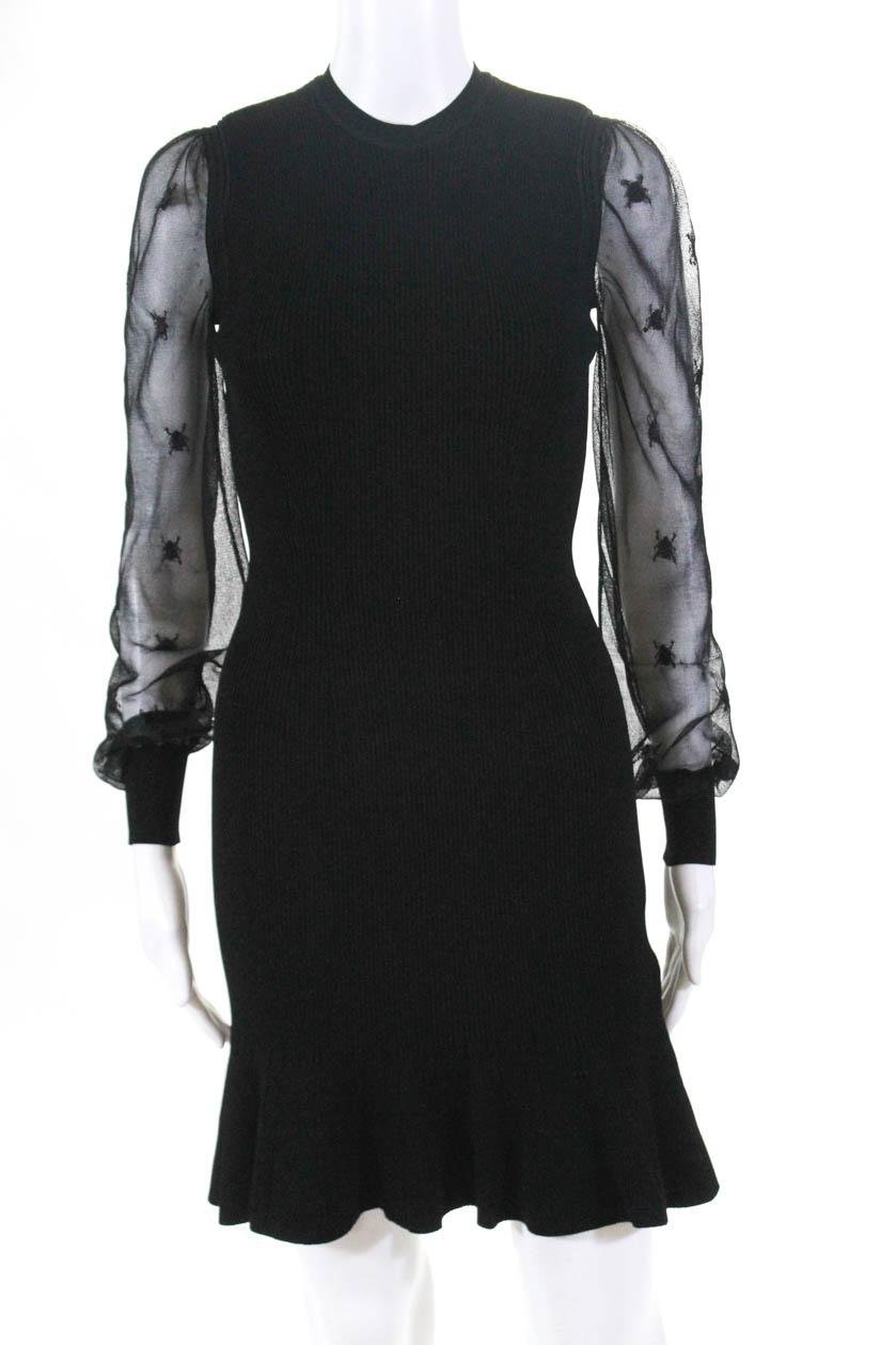 57259a381e47 Alexander McQueen Womens Long Sleeve Dress Black Size Medium | eBay