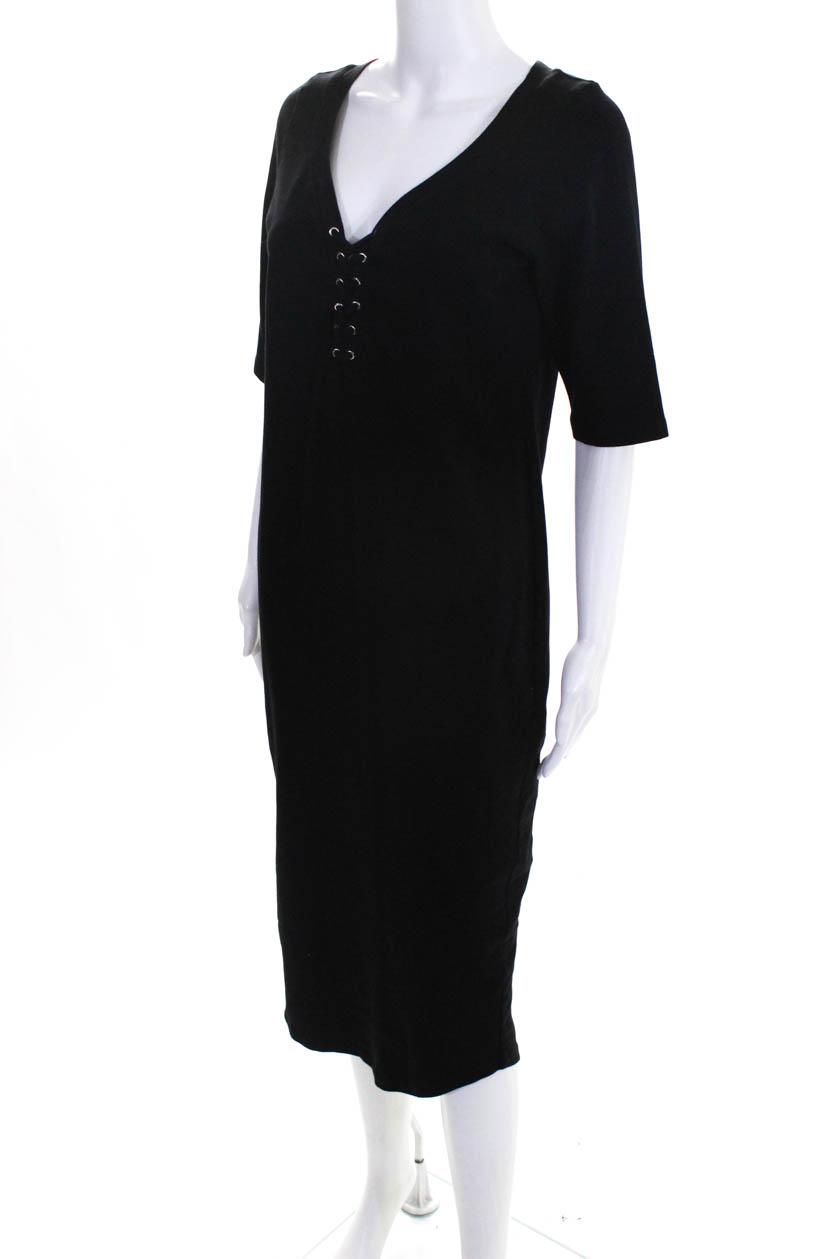 09e0599ae76b0 Monrow Womens Lace Up V Neck Maternity Shift Dress Black Size Large ...