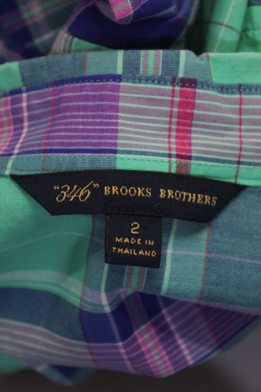 52628220 346 Brooks Brothers Women's Button Down Tops Green Blue White Size 0 ...
