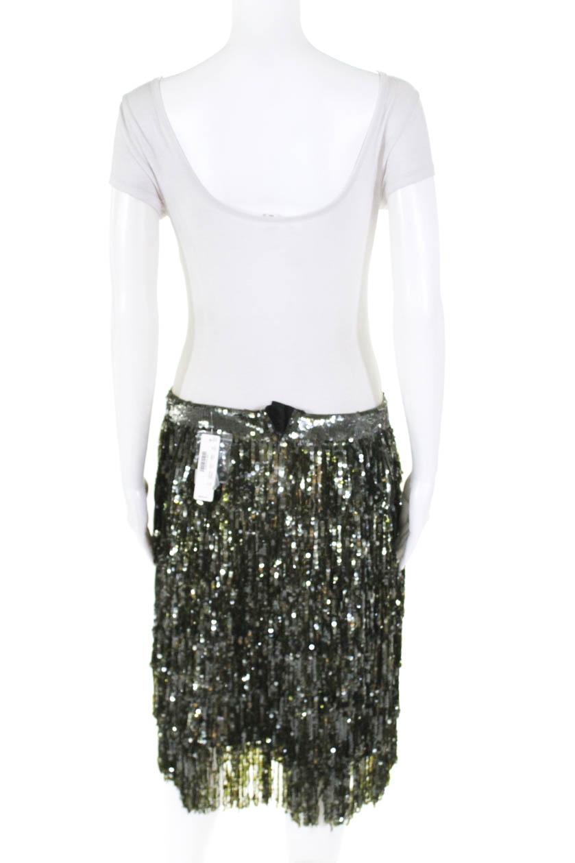 47e30d89b J Crew Collection Womens Silk Sequin Party Pencil Skirt Green Size ...