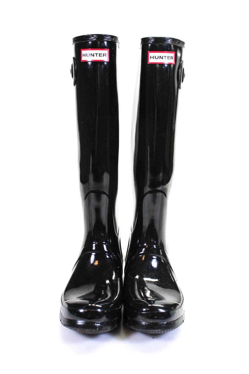 Hunter Womens Shiny Knee High Rubber Rain Boots Black Size -2527