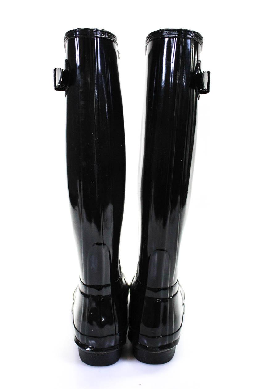 Hunter Womens Shiny Knee High Rubber Rain Boots Black Size -5684