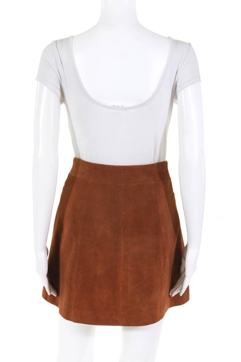 93d2196a3 Intermix Womens A Line Snap Front Suede Mini Skirt Tan Size Petite ...