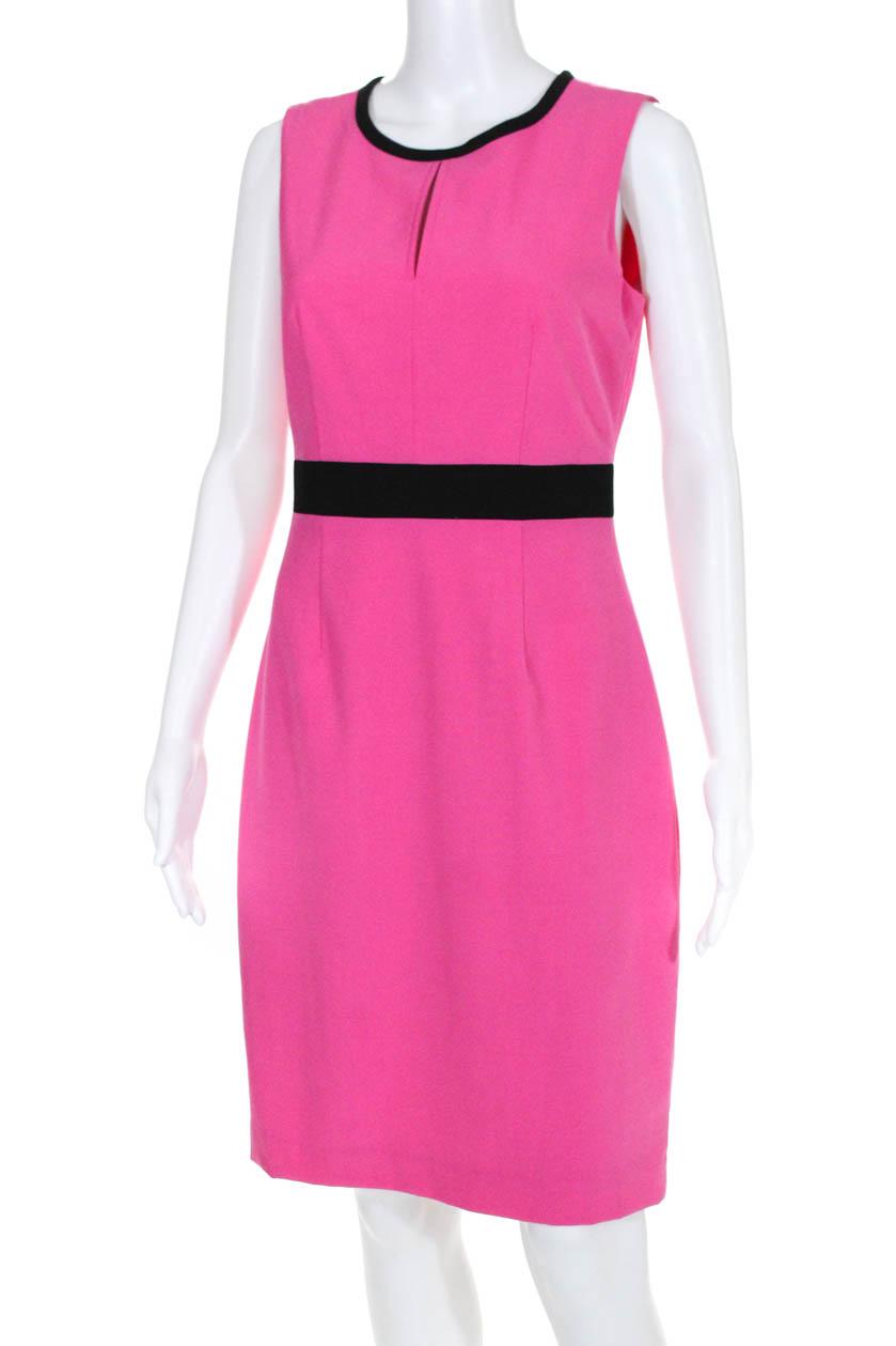 ab2576f2 Calvin Klein Womens Sleeveless Crew Neck Sheath Dress Pink Black Size 4 2 2  of 6 ...