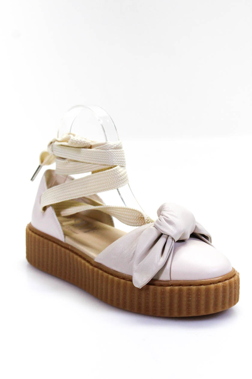 online retailer d34a1 3fabb Details about Fenty Puma by Rihanna Womens Platform Bow Creeper Lace Up  Sandals White Size 7