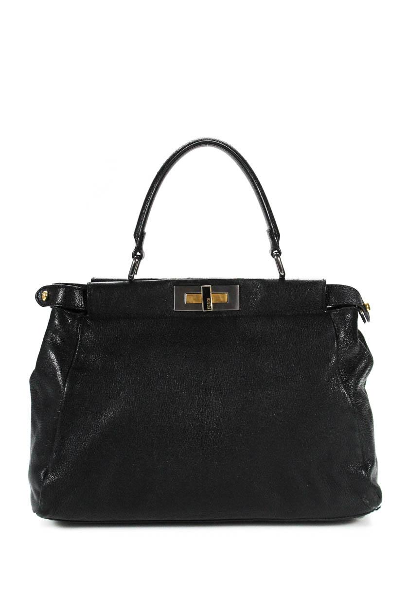 56431503b3 Details about Fendi Womens Leather Pony Hair Small Peekaboo Satchel  Shoulder Handbag Black