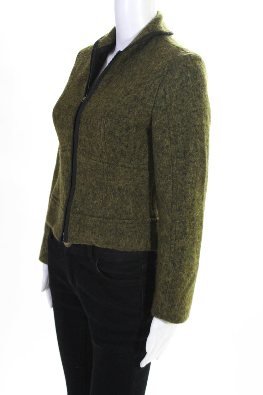 Details about Marccain Women's Collared Zip Up Jacket Wool Green Size 1