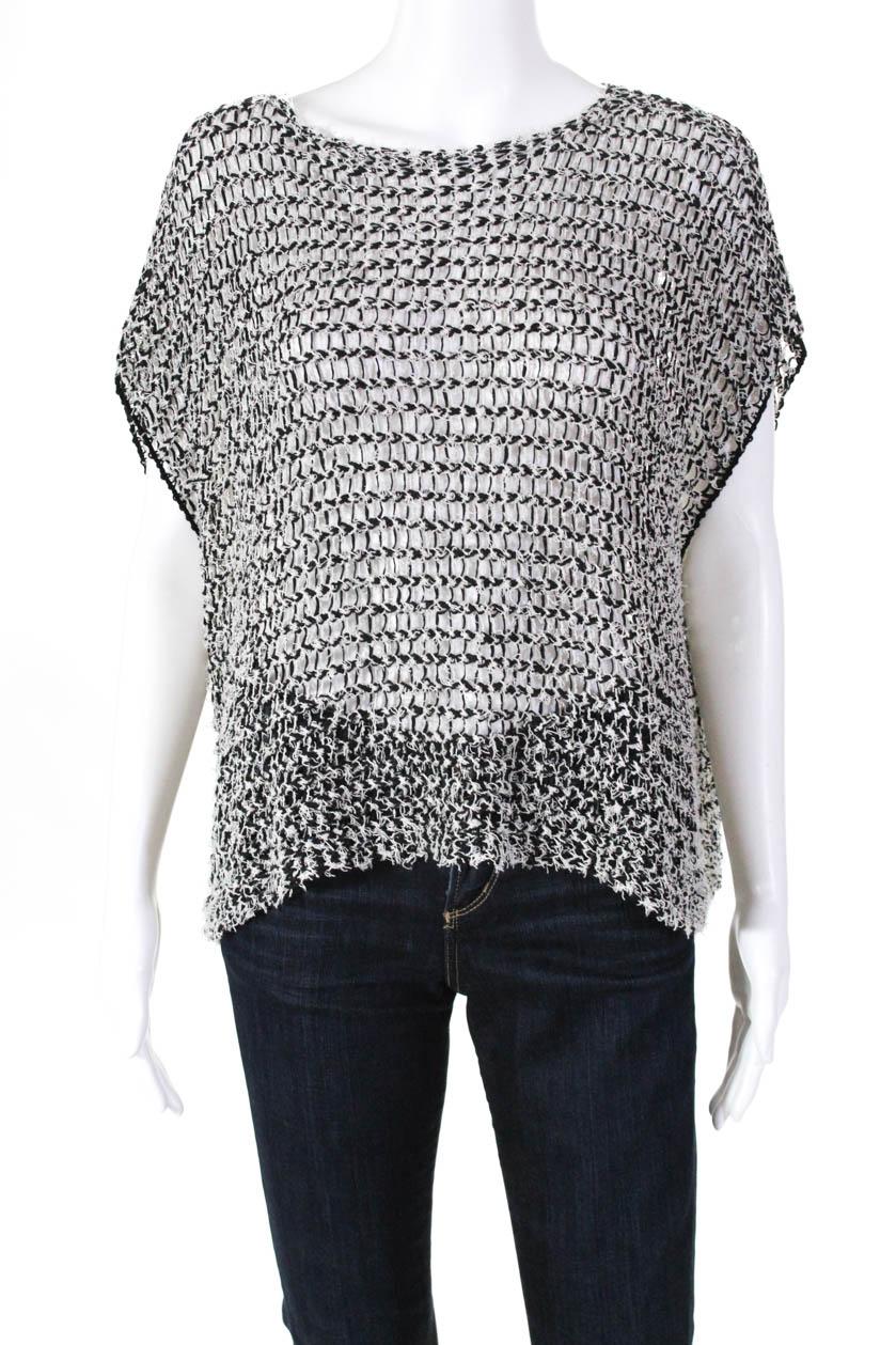 M Eileen Fisher Black White Cotton Twist Tufted Box Top  PM XS