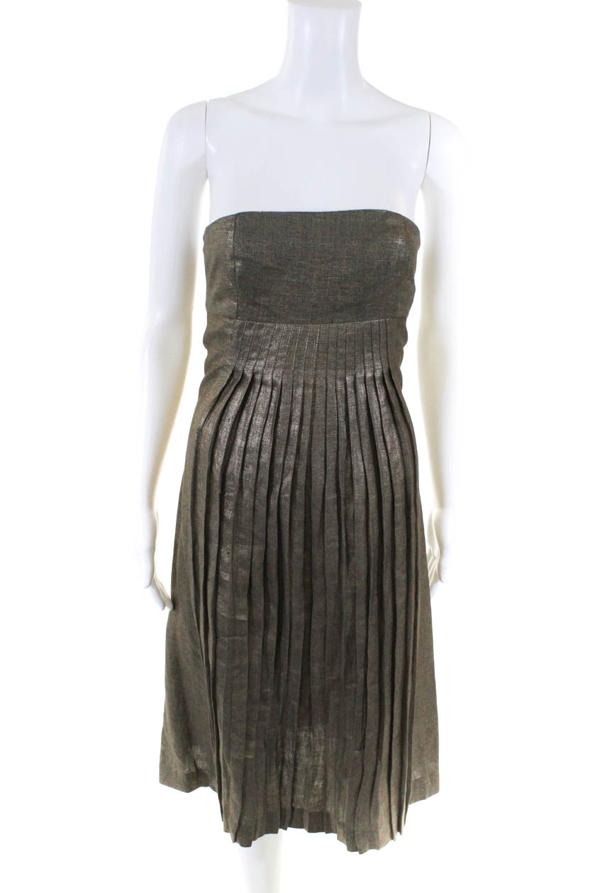 Aeve Womens Pleated Strapless Sleeveless Mid-Calf A-Line Dress Gold Linen Size 0