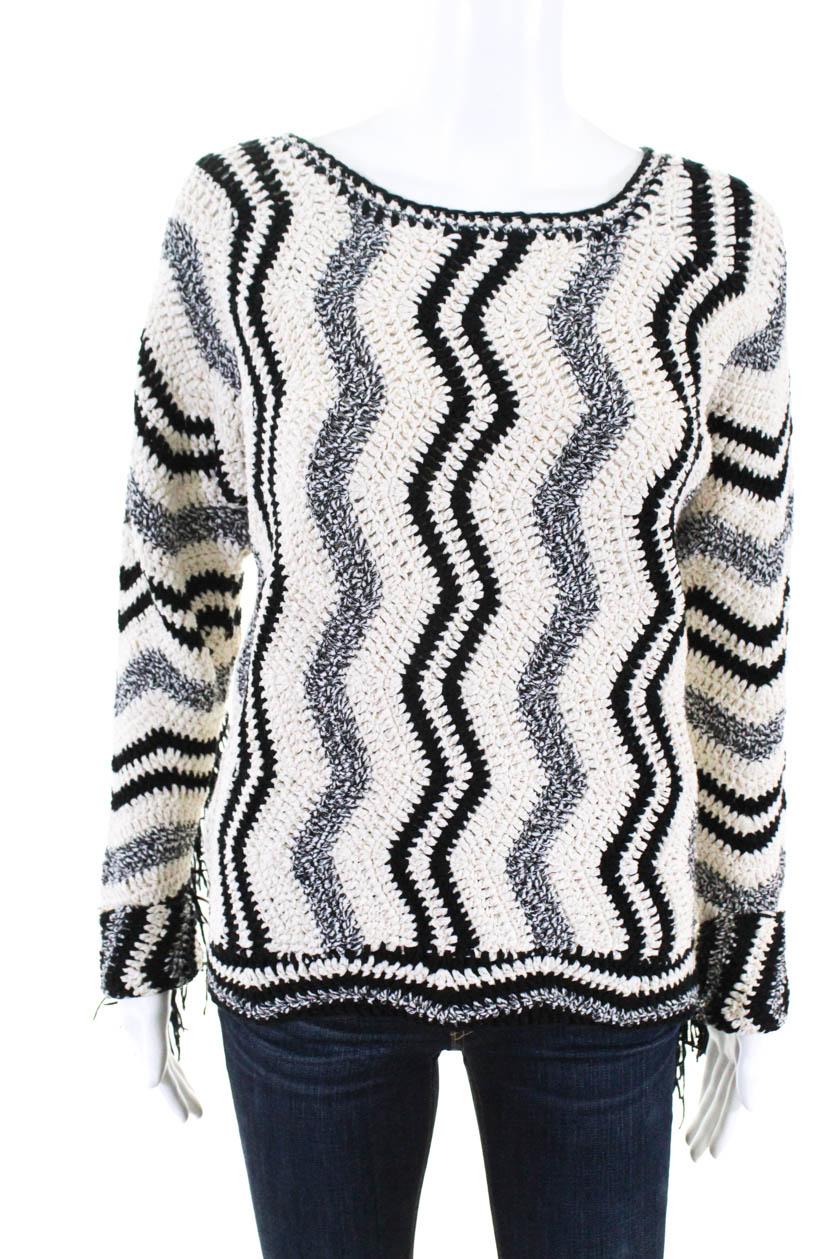 Uno a  uno para Mujer Manga Larga Suéter Negro Crema Chevron Talla 0  precios al por mayor