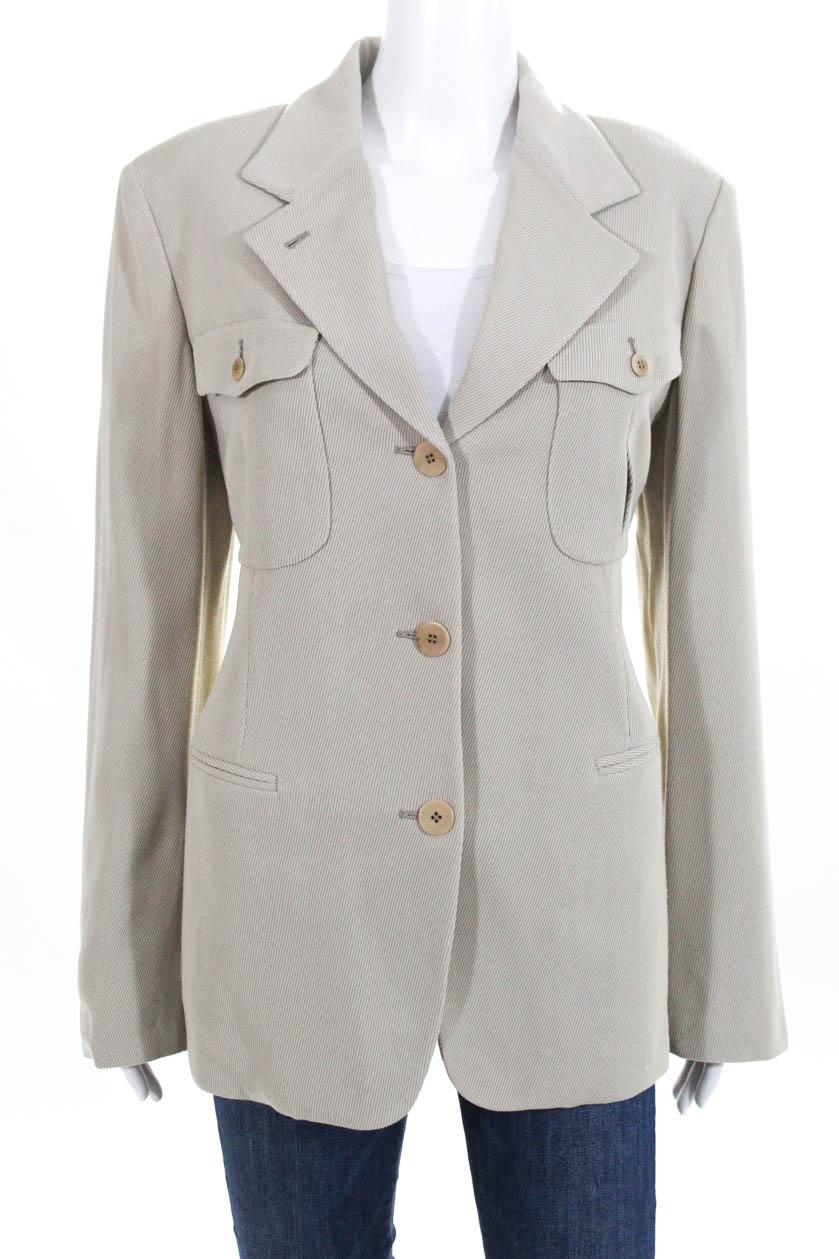 size 40 81219 78db1 Details about Donna Karan Signature Womens Button Down Suit Jacket Beige  Wool Blend Size 12