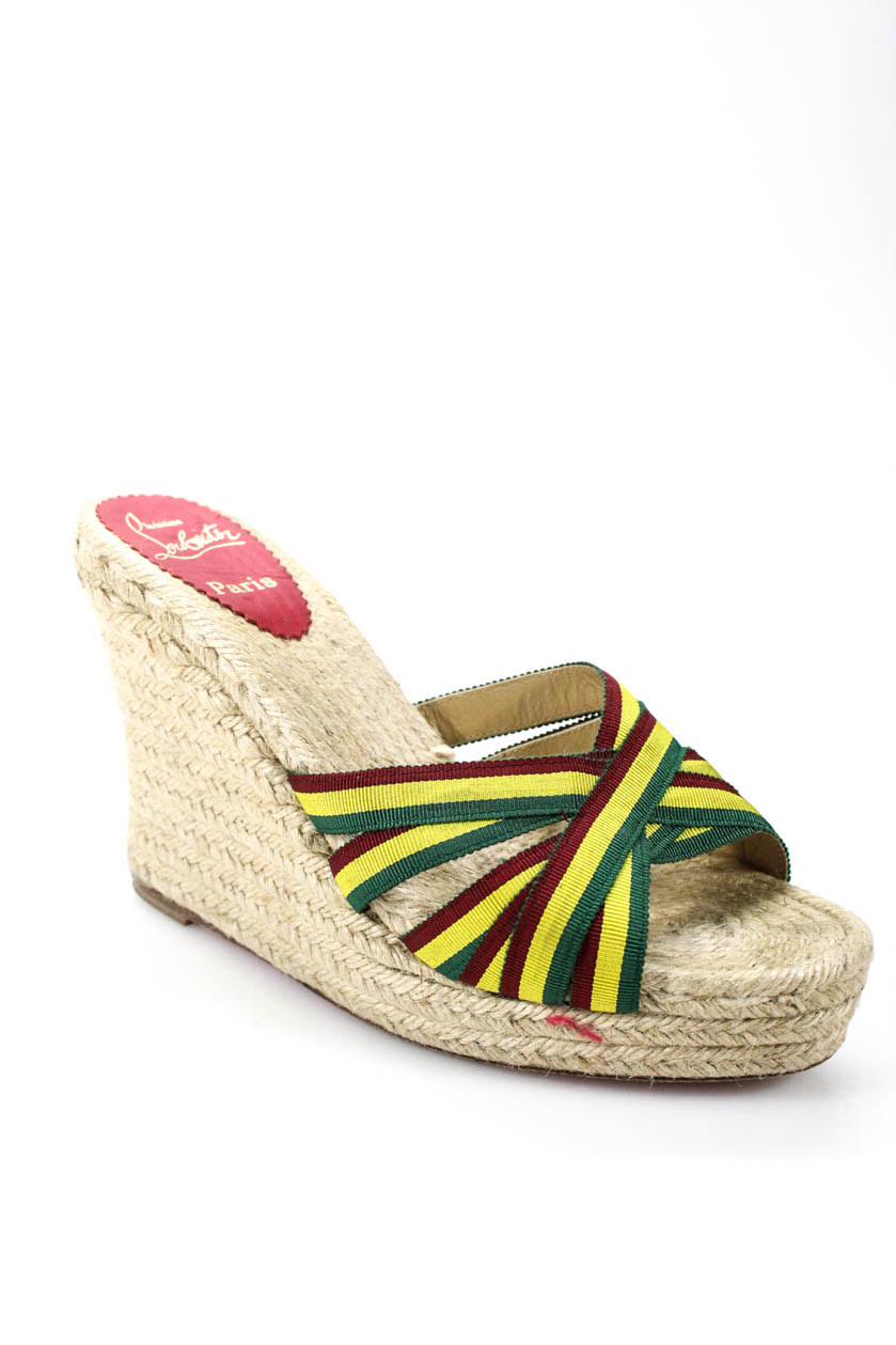reputable site f5f2f 87fb6 Details about Christian Louboutin Womens Open Toe Wedges Green Yellow Red  Size 40 10