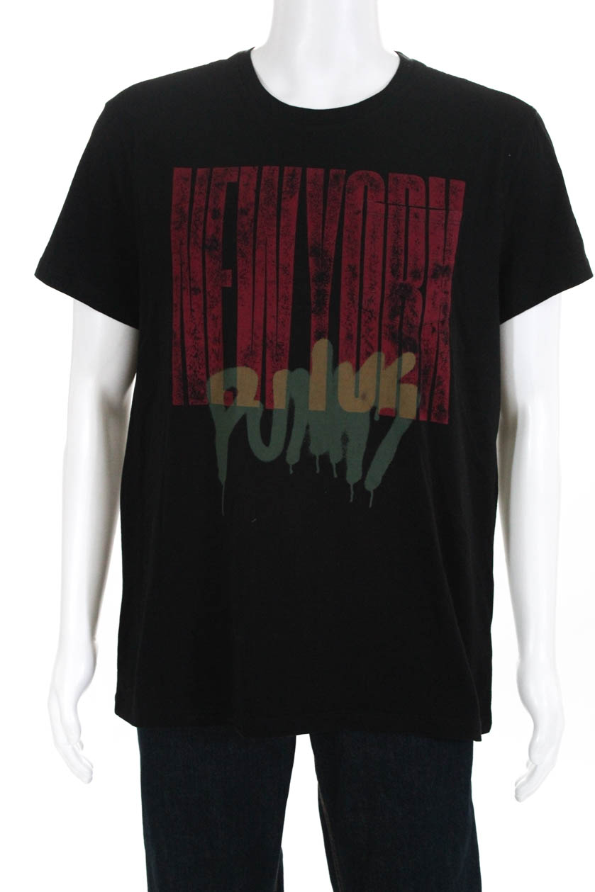 John Varvatos Star USA Multi Skulls Graphic Black Cotton T-Shirt Size Large $88