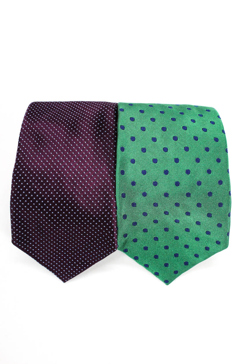 Details about Davide Cenci Faconnable Mens Classic Tie Green Purple Silk One Size LOT 2