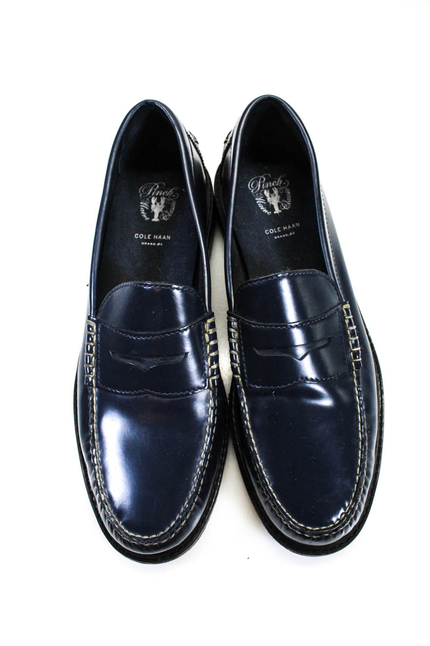 Cole Haan Mens Leather Penny Loafers Navy Blue Size 12 | eBay