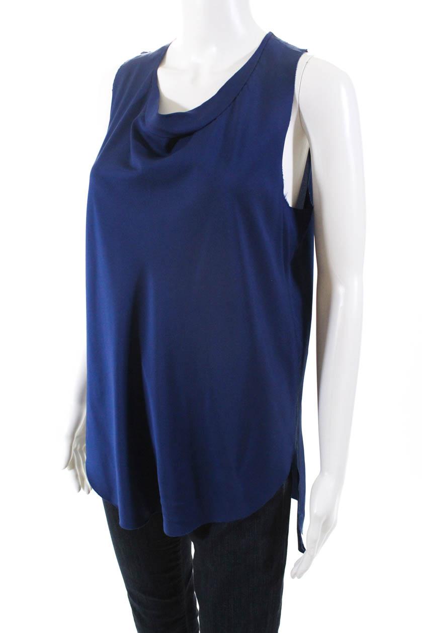 3-1-Phillip-Lim-Womens-Silk-Sleeveless-Blouse-Blue-Size-4 thumbnail 2