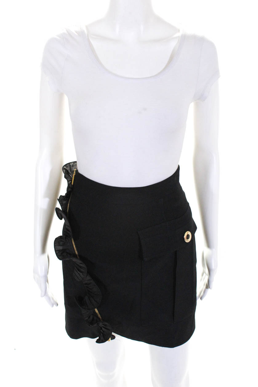 Gold mini skirts size 25 Emanuel Ungaro Womens Pleated Gold Accent Mini Skirt Black Size 6 Ebay