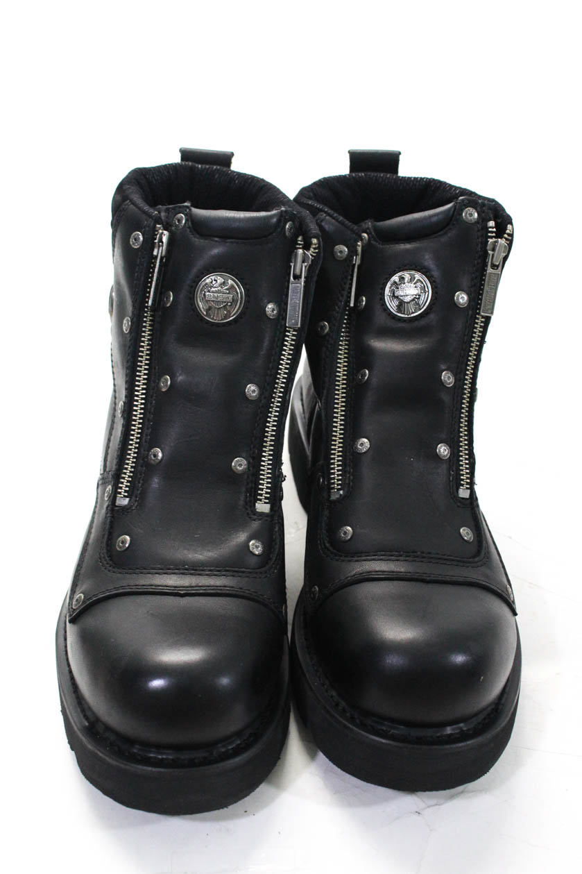 Harley Davidson Womens Leather Brake Light Zipper Ankle -1423