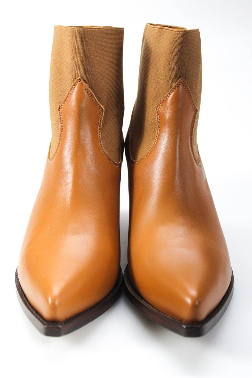 Buttero Womens Leather Pointed Toe Elise Booties Hibcuoio Brown Size 38 8