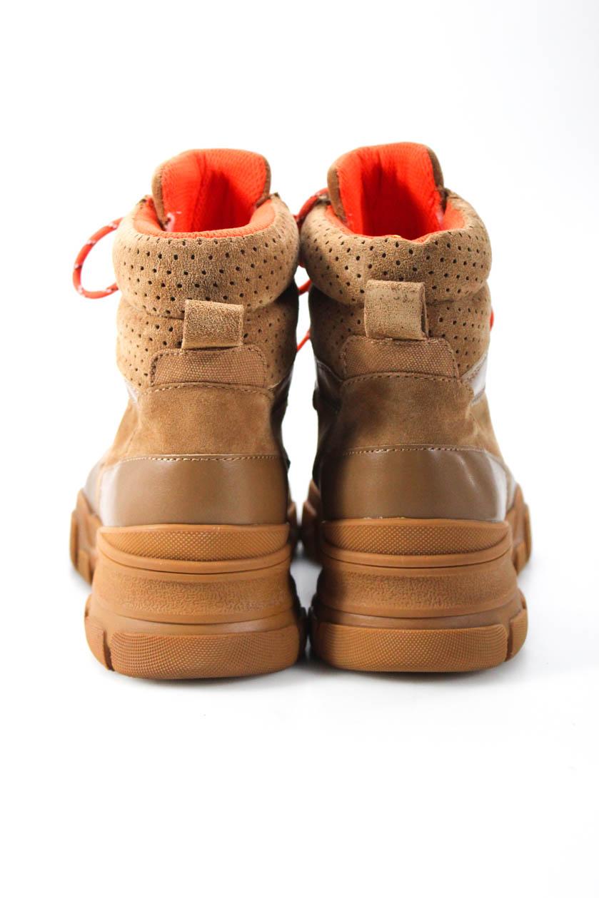 Villa Rouge Womens Lace Up Gem Boots  Cognac Tan Suede Size 9.5