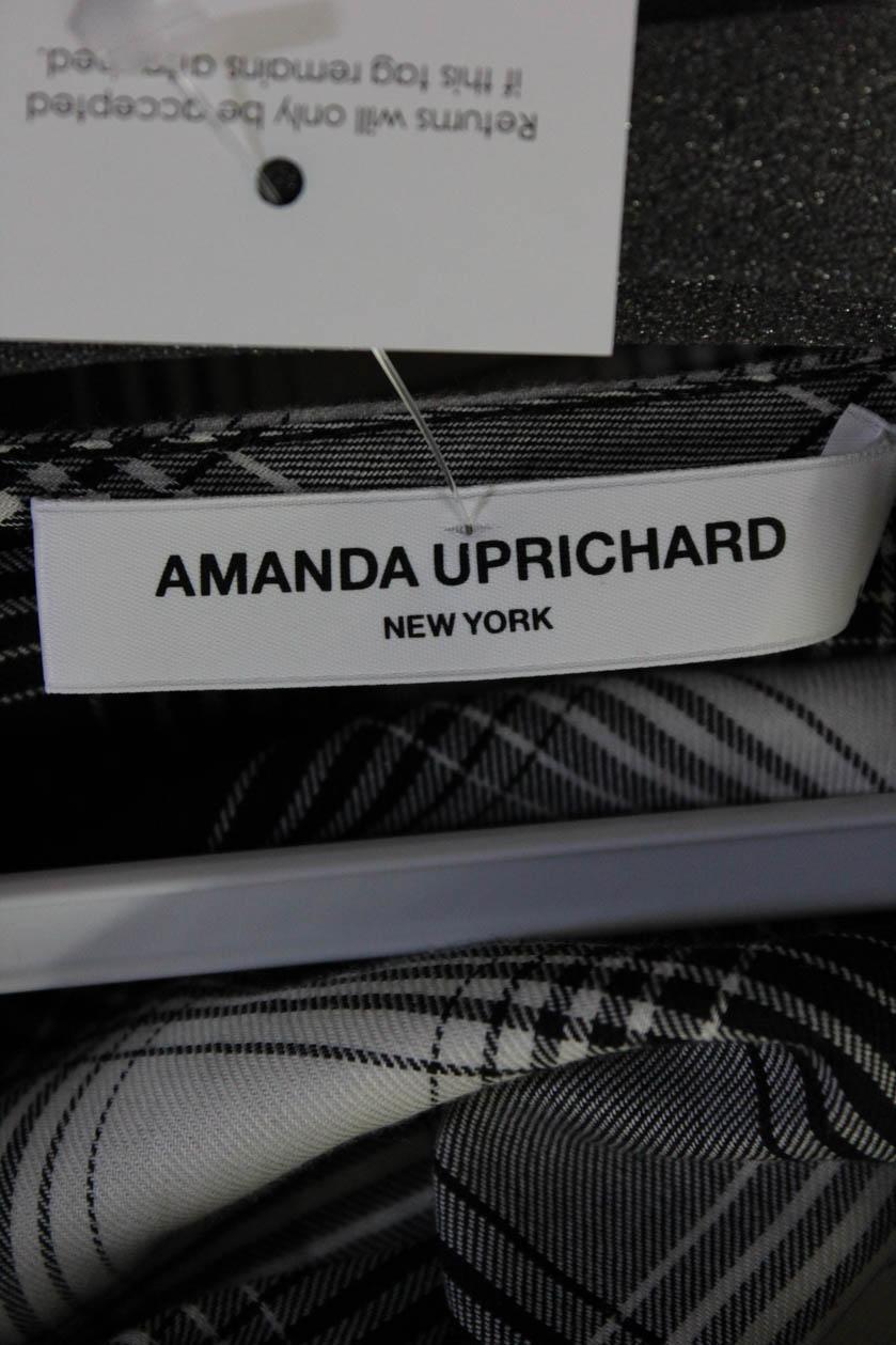 Amanda Uprichard Womens Crossover Thong Bodysuit Black White Size Petite