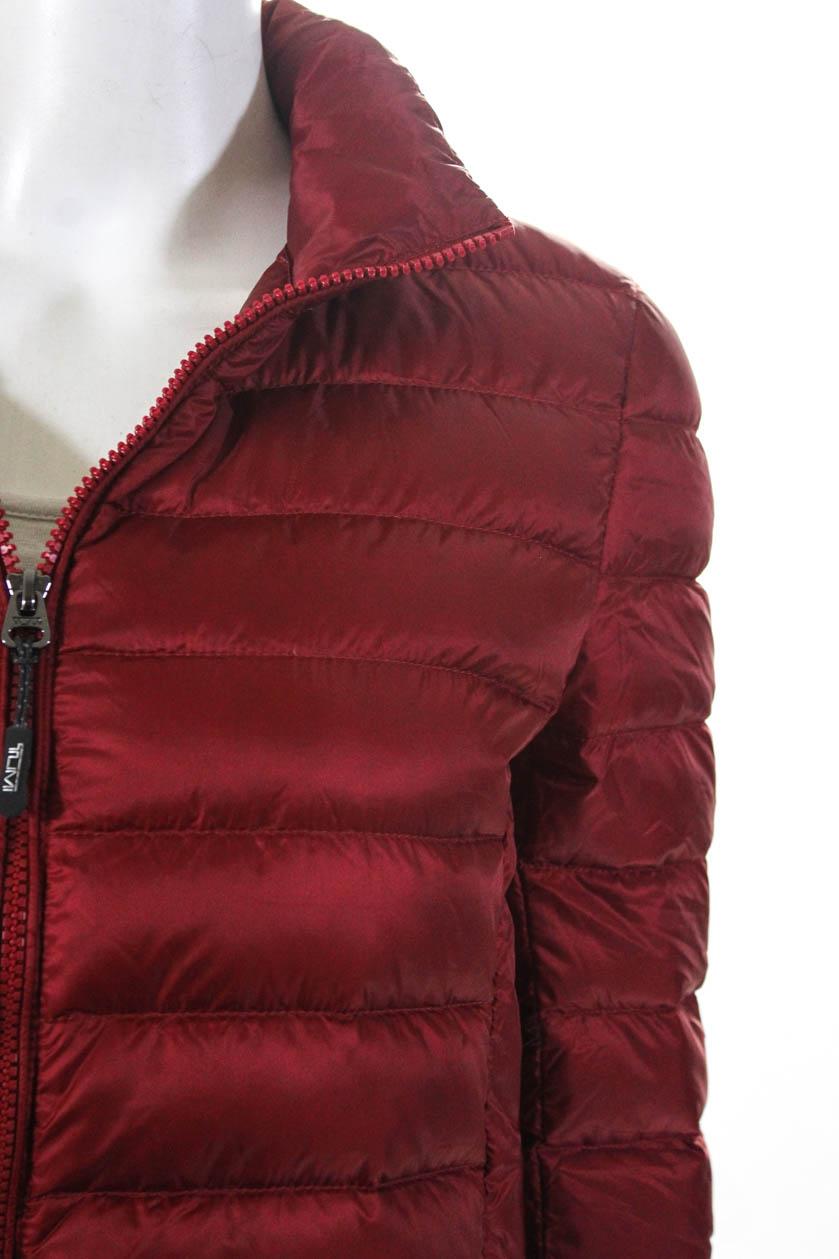 Tumi Womens Long Sleeve Solid Print Zip Up Collar Puffer ...