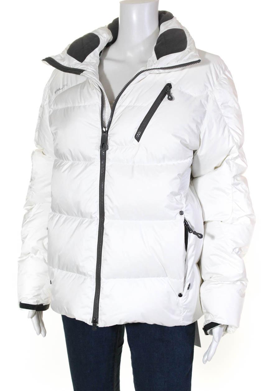 RLX Ralph Lauren Womens High Neck Puffer Jacket White Size ...