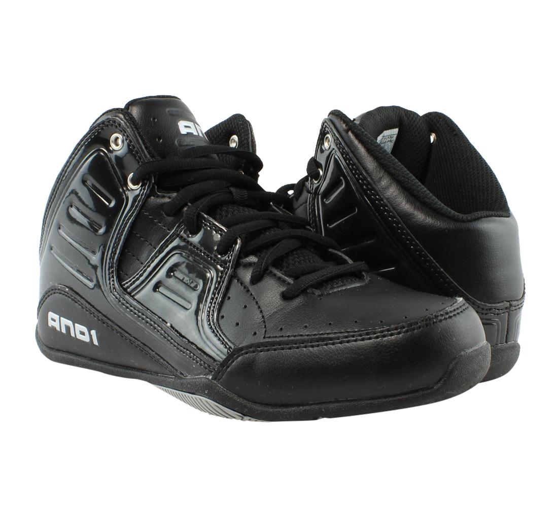 18e57b8320c AND1 Boys Rocket 4.0 Black Black Silver Basketball Shoes Size 6 (227373)