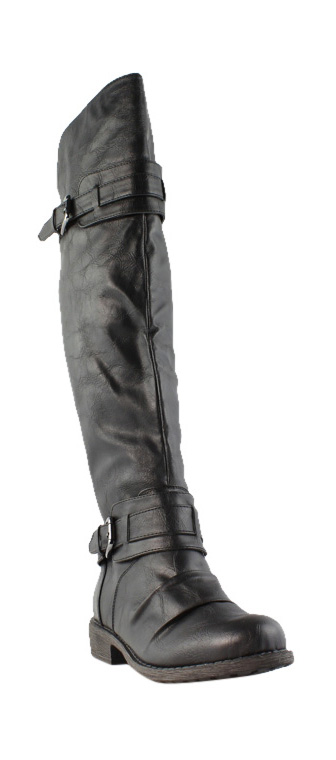 Diba Girl Womens Curl Up Black Knee Boots Size 7 (232521)