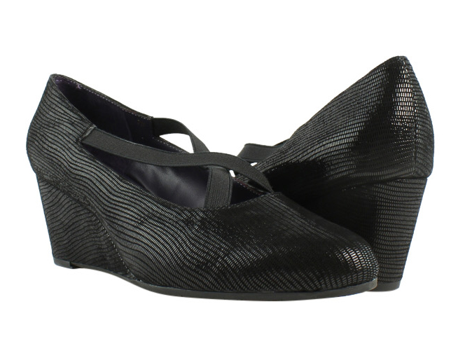 New VANELi Womens Trypsy Black Miniliz/Elastic Wedge Heels Size 7