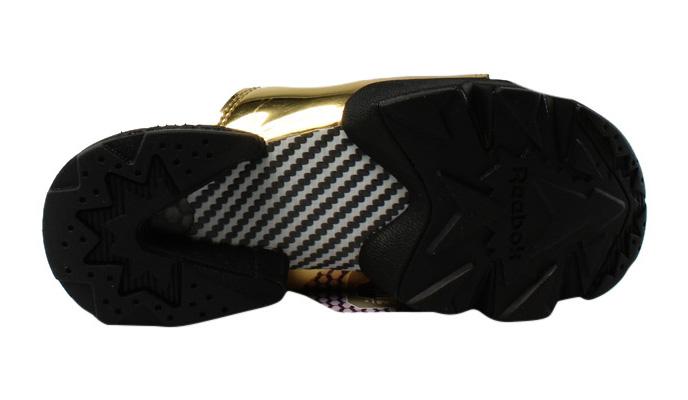 66b963ac9fcaf New Reebok Womens Fury Slide Magic Hour Gold Metallic Black White Slides  Size 5