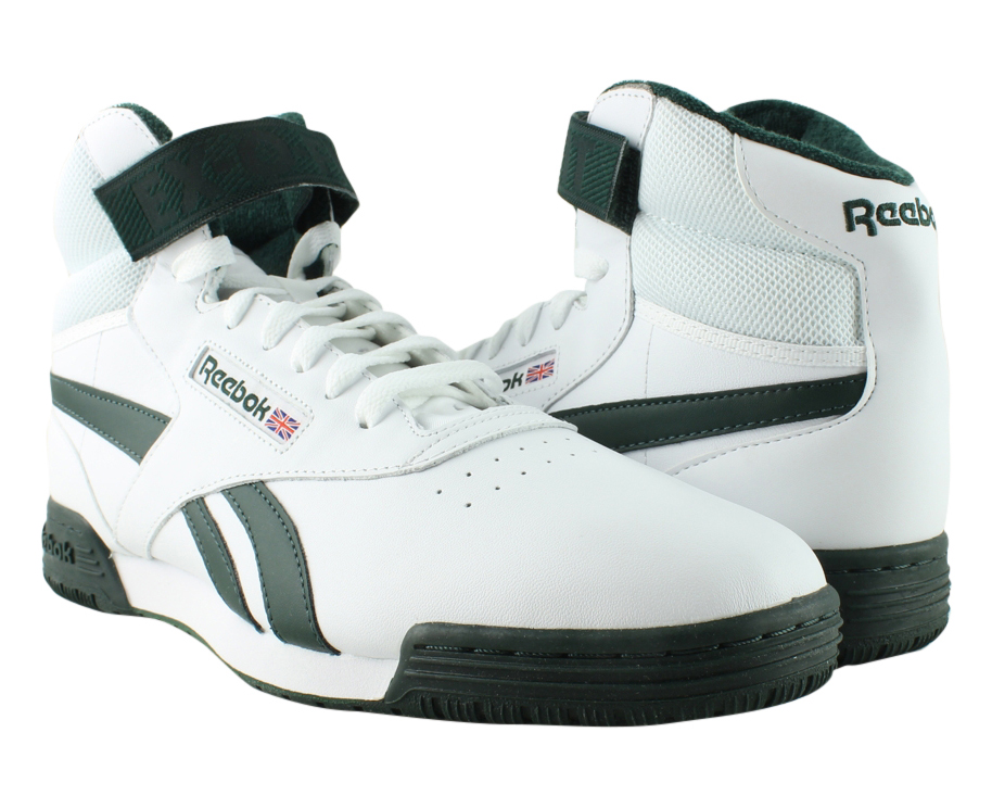 634b1c876f0 New Reebok Mens Ex-O-Fit Clean Hi S White Dark Forest Running Shoes Size 9.5