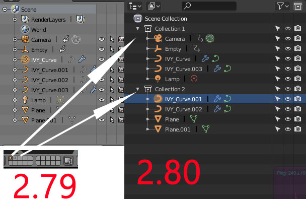 Blender 2.79 vs 2.80 Object Hierarchy