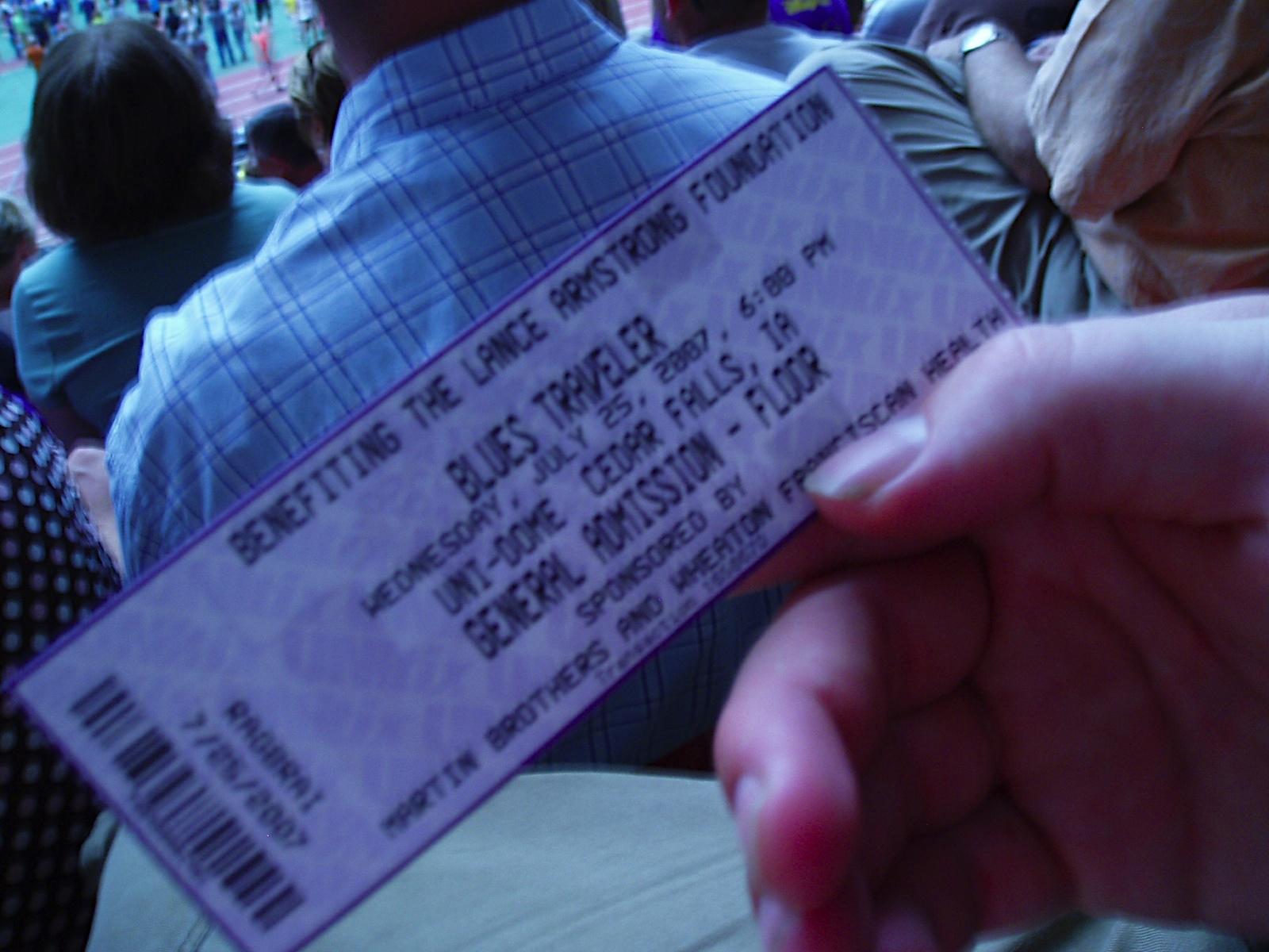 ticket for Blues Traveler in UNI-Dome Cedar Falls, IA, July 25, 2007