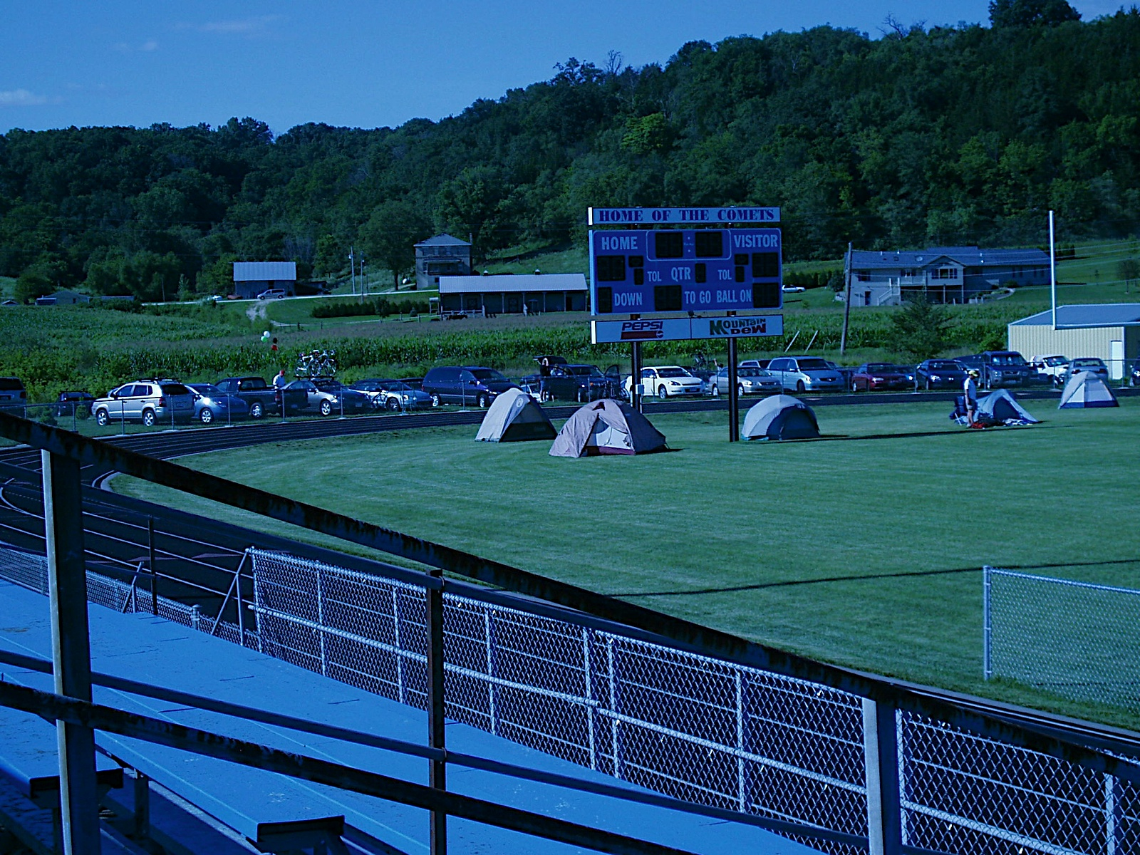 camping on the football field